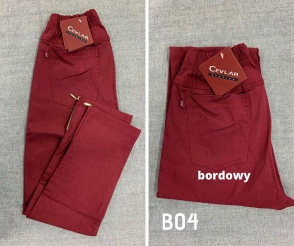 Spodnie z bengaliny Cevlar B04 kolor bordowy, plus size XXL