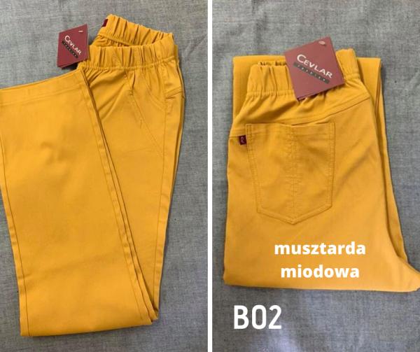 Spodnie z bengaliny B02 kolor musztarda miodowa, plus size XXL