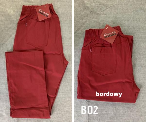 Spodnie z bengaliny Cevlar B02 kolor bordowy, plus size XXL