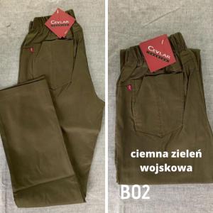 Spodnie z bengaliny Cevlar B02 kolor ciemna zieleń wojskowa, plus size XXL