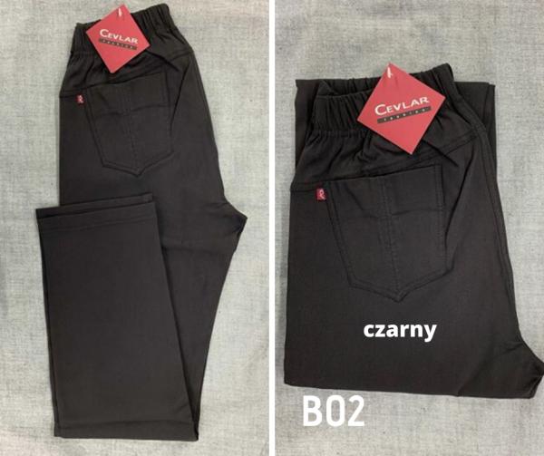 Spodnie z bengaliny Cevlar B02 kolor czarny, plus size XXL