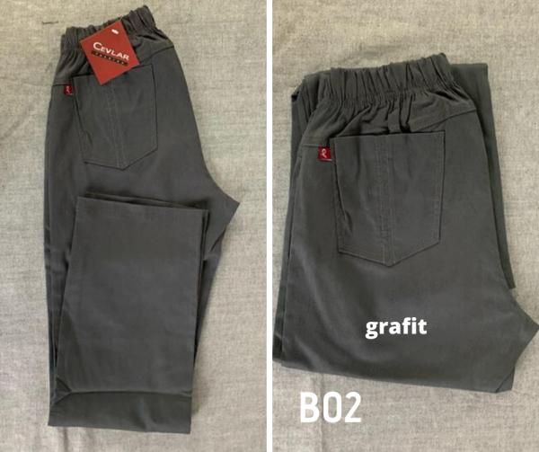 Spodnie z bengaliny Cevlar B02 kolor grafitowy, plus size XXL