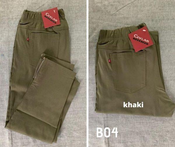 Spodnie z bengaliny Cevlar B04 kolor khaki, plus size XXL