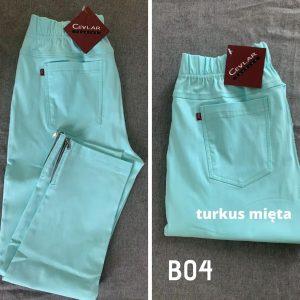 Spodnie z bengaliny Cevlar B04 kolor turkus, plus size XXL