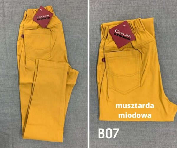 Spodnie z bengaliny Cevlar B07 kolor musztarda miodowa, plus size XXL