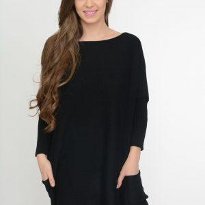 Luźny sweter oversize z kieszeniamikolor czarny
