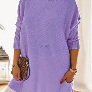 Luźny sweter oversize z kieszeniami kolor lawenda