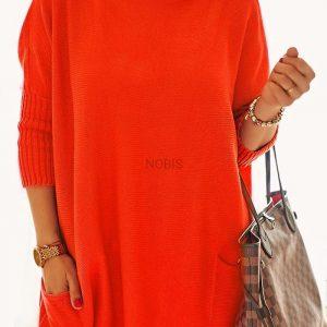 Luźny sweter oversize z kieszeniamikolor orange neon