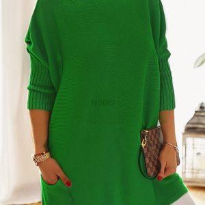 Luźny sweter oversize z kieszeniamikolor zielony