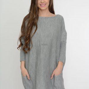 Luźny sweter oversize z kieszeniamikolor popiel
