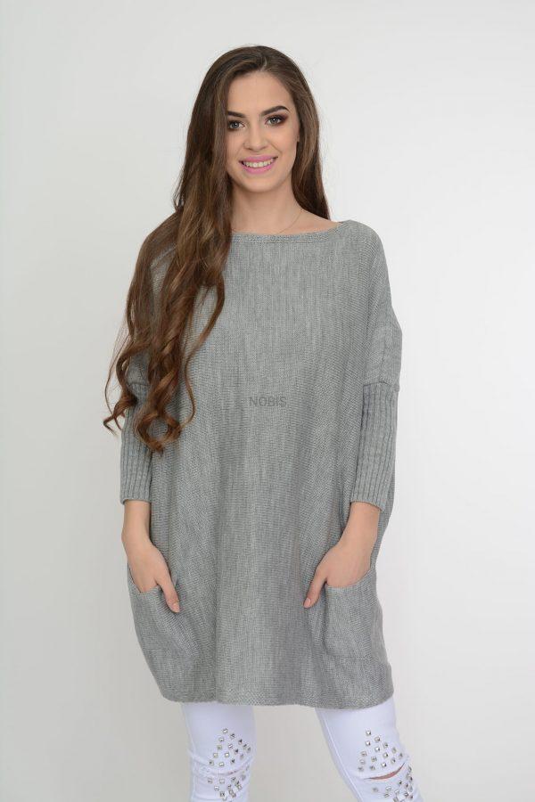 Luźny sweter oversize z kieszeniami kolor popiel