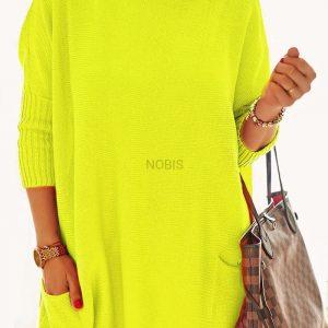 Luźny sweter oversize z kieszeniamikolor żółty neon