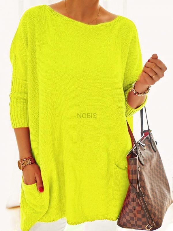 Luźny sweter oversize z kieszeniami kolor żółty neon
