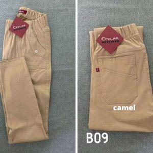Spodnie z bengaliny Cevlar B09 kolor camel, plus size XXL