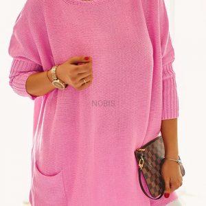 Luźny sweter oversize z kieszeniami kolor landrynkowy róż