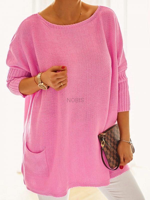 Luźny sweter oversize z kieszeniamikolor landrynkowy róż