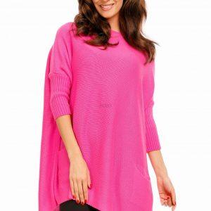 Luźny sweter oversize z kieszeniami kolor róż neon