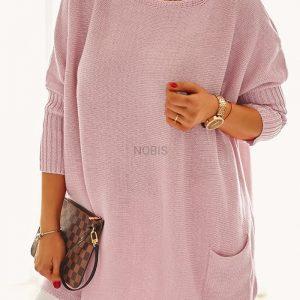 Luźny sweter oversize z kieszeniami kolor pudrowy róż