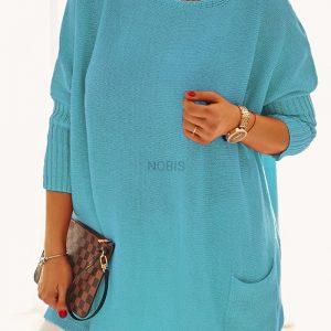 Luźny sweter oversize z kieszeniami kolor turkus