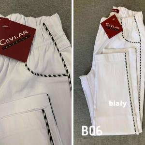 Spodnie z bengaliny Cevlar B06 kolor biały, plus size XXL
