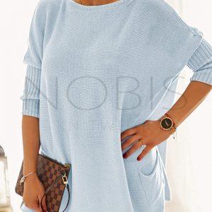 Luźny sweter oversize z kieszeniamikolor blue