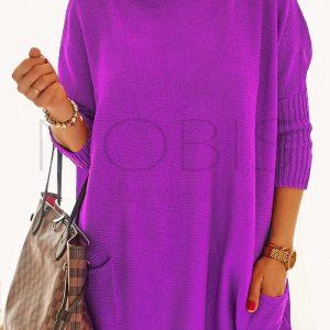 Luźny sweter oversize z kieszeniamikolor fioletowy