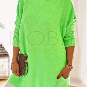 Luźny sweter oversize z kieszeniamikolor zielony neon