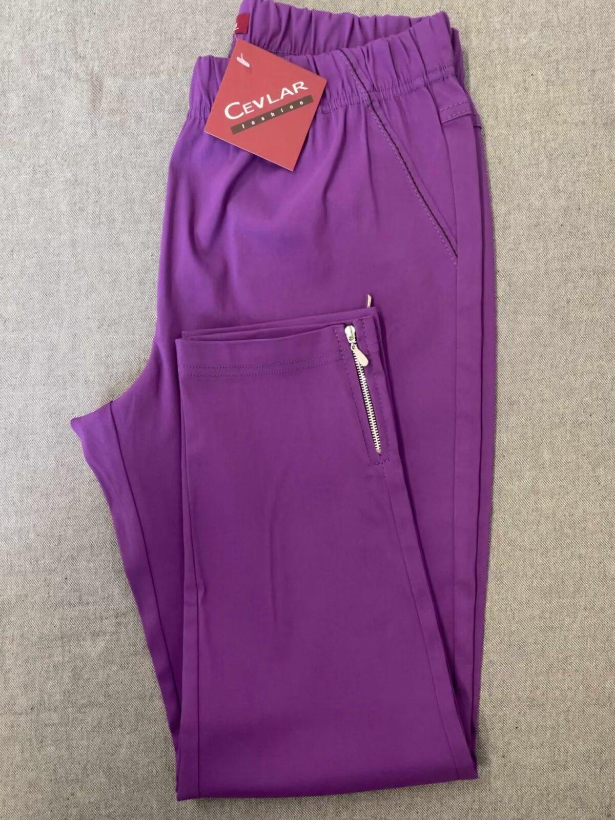 Spodnie z bengaliny Cevlar B04 kolor śliwkowy, plus size XXL