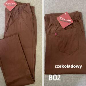 Spodnie z bengaliny Cevlar B02 kolor czekoladowy, plus size XXL