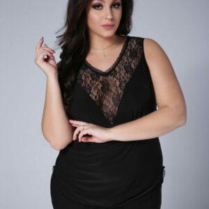 Piżamka EMMA z koronką kolor czarny, plus size XXL