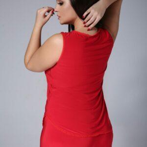 Piżamka EMMA z koronką kolor czerwony, plus size XXL