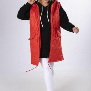 Pikowana kamizelka z kapturem kolor czerwony