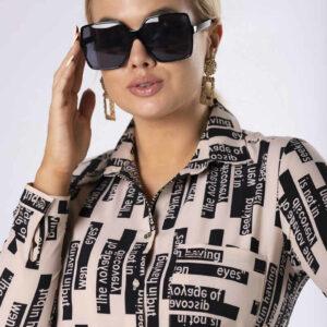 Koszula z wydłużonym tyłem kolor beżowy