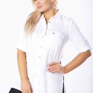 Koszula z kieszenią na biuście i podpinanymi rękawami – Biały